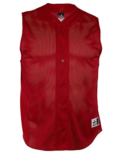 Alleson Full Button Mesh Baseball Vests/Sleeveless Jersey Mens Style: RN80185-RED Size: L (Baseball Button Vest Jersey Full)