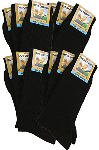 12 Pairs Men's 100% Pure Cotton Ribbed Socks allow your feet to breathe and absorb. (Black)