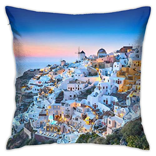 Tastedecor Santorini Greece Oia Village In The Morning Light Throw Pillow Cases For Bed Decorative Square Cushion Covers Durable Modern Home Decor 18