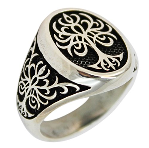 Tree of Life 925 Sterling Silver Turkish Jewelry Men Ring (8.25)