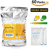 5 Gram [60 PACKS] Silica Gel Desiccant Packets with Orange Beads Humidity Indicator Safe Double Packed for Air...