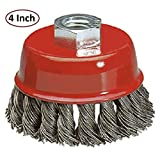 51oCPE0v TL. SL160  - Wire Wheel Brush Cup - 4 Inches Heavy Duty And Durable Knotted Grinder Brush – For Rust, Corrosion And Paint Removal - By Katzco