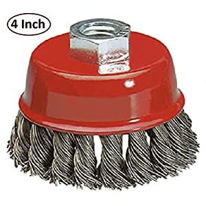 Wire Wheel Brush Cup – 4 Inches Heavy Duty And Durable Knotted Grinder Brush – For Rust, Corrosion And Paint Removal – By Katzco