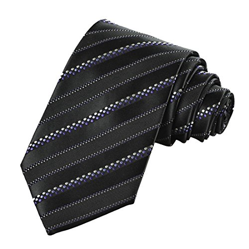 Mens Black Purple Dotted Striped Jacquard Woven Tie Necktie Dotted Necktie