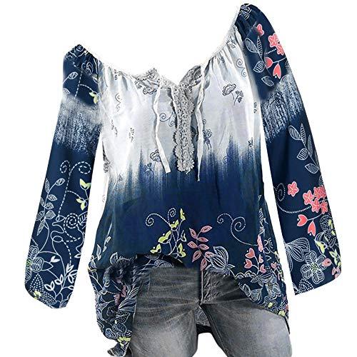 Tops Blouses des Grande Violet Shirt Chemisier Femme Manches Blouse Blocs de Chemisiers pissage Longues Weant Couleur Col et Impression U Blouse Taille Femme Casual 70gq1