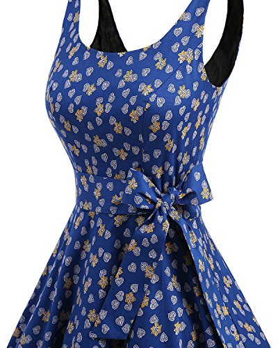 Leaves Estampado Vintage 1950 de con Lazo Rockabilly Cóctel Bbonlinedress Royalblue Vestidos Retro q6THTn1P