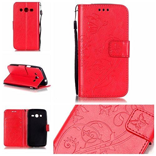 SRY-Funda móvil Samsung Carcasa de la caja de color sólido Samsung Galaxy G386F, Carcasa de la caja de la cartera de cuero de la PU superior Carcasa de relieve magnética para Samsung G386F ( Color : G Red