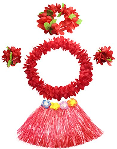 40cm red grass skirt with flowers bracelets headband necklace Hula set (Hawaiian Party Dress)