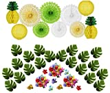 50 Pcs Hawaiian Tropical Pineapple Luau Theme Party Decorations Kit...