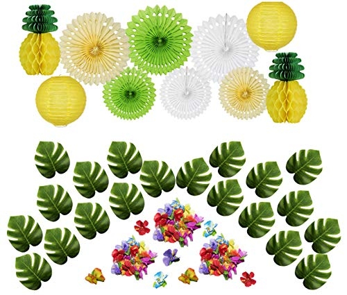 50 Pcs Hawaiian Tropical Pineapple Luau Theme Party Decorations Kit Supplies QUANAGOL, 20 Palm Leaves, 20 Hawaiian Flowers, 6 Paper Fan, 2 Paper Lantern, 2 Paper Pineapple Ball ()