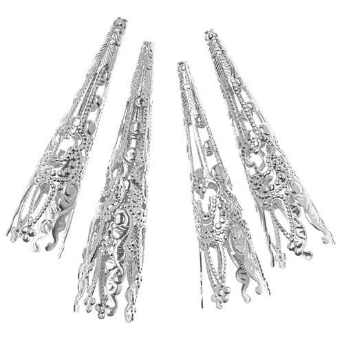 Beadaholique JW282/17S Long Filigree Cone Beads, 40mm, Bright Silver Plated