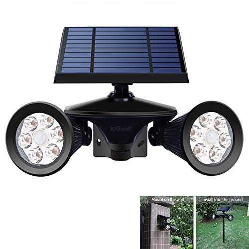 Dual Mount Spotlight - ieGeek Solar Spotlights Solar Motion Sensor Spot Light 12 LED Solar Powered Outside Spotlights Adjustable Double Head for Outdoor Wall Yard Garden Garage Driveway
