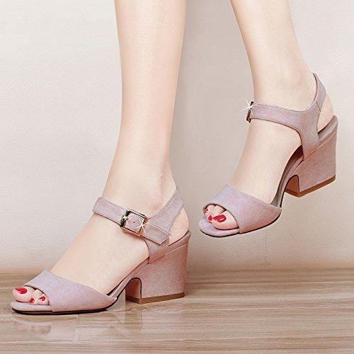 seven Gruesos Pez Y boca Partidopinktreinta Con Khskx Mujer De Sandalias Coreana Una Grueso Todo Boca Nueve Tacon Zapatos Thirty El xa1qEHtEw
