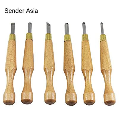 GUOGOODS 6 in 1 Solid Handle Woodcut Scorper Wood Carving Chisels Set Woodworking Knife Hand Tool Kit