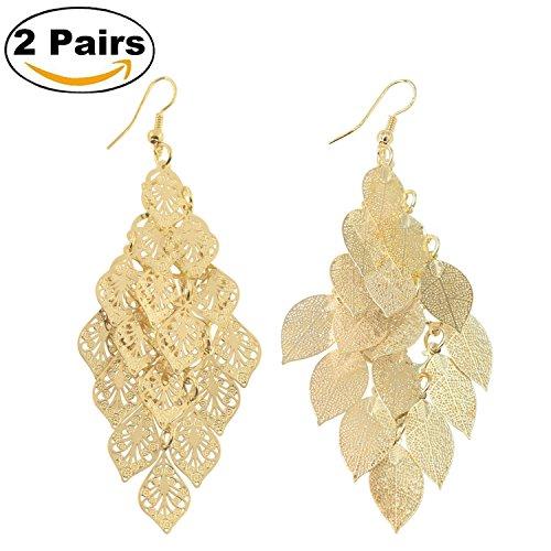 KISSPAT 2 Pairs of Leaf Earrings Gold Tone Large Fashion Dangling Brass Filigree Earrings for (Dangling Chandelier Earrings)