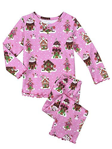 Sara's Prints Little Girls' Cozy Ruffled Relaxed Fit Pajama Set, Gingerbread Houses-Gin, (Gingerbread Print)