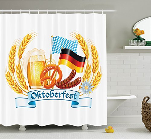 Ambesonne Festival Decorations Collection, Oktoberfest celebration design with sausage drink flags Wheat Stems banner, Polyester Fabric Bathroom Shower Curtain, 84 Inches Extra Long, Yellow Blue