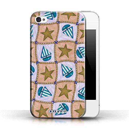 Etui / Coque pour Apple iPhone 4/4S / Brun/Bleu conception / Collection de Bateaux étoiles