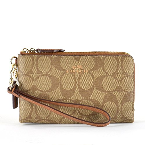 COACH Outlet Womens PVC Signature Leather Double Zip Wallet Wristlets F66506 Khaki Saddle price tips cheap