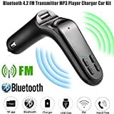 GBSELL G7 Car Kit Hands-free FM Transmitter Bluetooth LCD MP3 Player Radio Adapter Charger (Black)