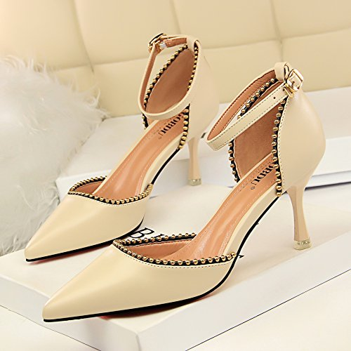 remaches retro bellas de de Estilo zapatos Xue planas huecos punta mujeres Beige luz Qiqi boquilla alto con la con la de de noche tacón la sandalias ApwxEIRq
