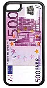 500 Euro Bill - Case for the Apple iphone 5c Only- Hard Black Plastic Snap On Case