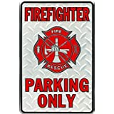 "Firefighter Parking Only Embossed Metal Novelty Parking Sign SP80010 - 8"" x 12"""