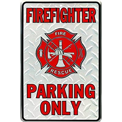 Firefighter Parking Only Embossed Metal Novelty Parking Sign