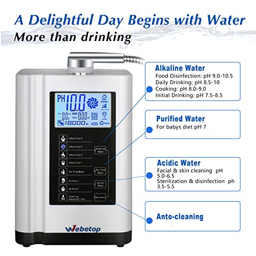 Webetop Water Ionizer Water Purifier Machine PH 3.5-10.5 Alkaline Acid Water Machine/7 Water Settings/up to -500mV ORP/6000 liters per Filter/Auto-Cleaning-Better Water