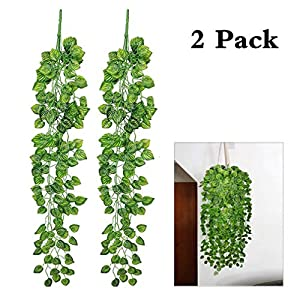 ReachTop Artificial Ivy Leaves Garland, 90cm 35inch Office Greenery Fake Silk Watermelon Leaves Foliage Hanging Vine Plant for Home Fence Wedding Party Garden Wall Decoration 2