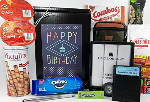 Men's Birthday Gift Box Basket Prime - Send Happy Birthday Wishes to Friend Dad Grandpa Brother with These 4 Macho Gifts and 17 Delicious Treats Today!