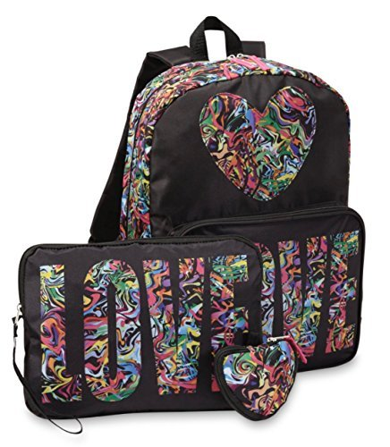 Confetti Love 3 Piece Girls Backpack Set - Large Backpack,Tablet Case & Pouch -