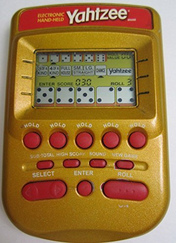Milton Bradley Electronic Handheld Game - YAHTZEE Electronic Handheld Game RED/GOLD EDITION (Includes Instructions)