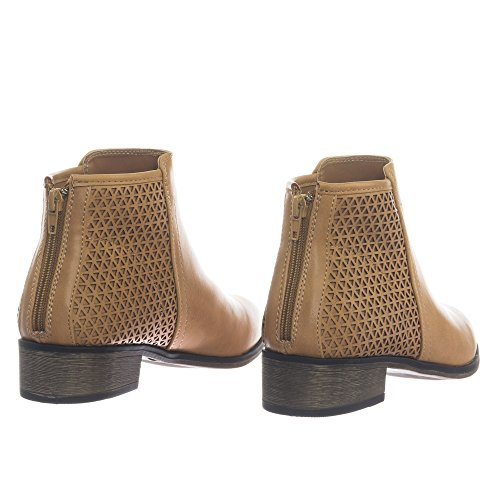 Bamboo Womens Western Ankle Bootie w Low Black Heel w Perforated Triangle Natural qQza7Ilt