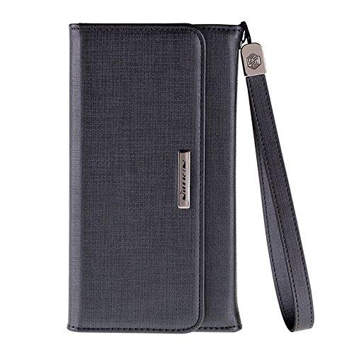 (HS-TOP  ® NILLKIN case cover Conque Bazaar Purse, Wallet Schutzhülle Rückseite Displayschutzfolie für Apple iPhone 6 4,7 Zoll, Schwarz