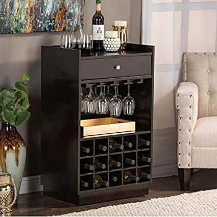 TG FURNITURE Sheesham Wood Wine Cabinet (Black)