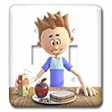 3dRose Boehm Graphics Cartoon - A Cartoon Boy with His School Lunch - Light Switch Covers - double toggle switch (lsp_282397_2)