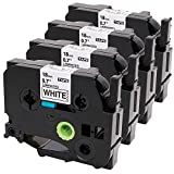 Oozmas Compatible with TZe-241 TZ241 Brother Ptouch Label Tape 18mm 0.7 Inches Black on White for Brother Label Maker, 4 Pack