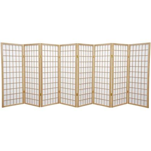 (Oriental Furniture 4 ft. Tall Window Pane Shoji Screen - Natural - 8 Panels)
