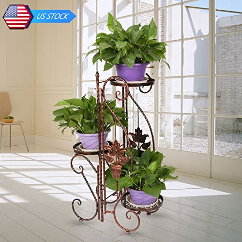 YP 3 Tier Indoor Outdoor Herb Flower Plant Planter 3 Pots Pot Flower Stand Stands with Modern S Style for decorate your balcony, sitting room, porch, office, coffee shop, restaurant, hotel and more