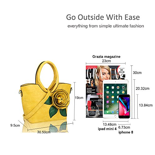 Tote embellished Bag handbag Women's Flower Black Shoulder wP7RRq