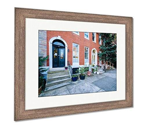 Ashley Framed Prints Row Houses at Union Square in Baltimore Maryland, Wall Art Home Decoration, Color, 26x30 (Frame Size), Rustic Barn Wood Frame, AG6330535
