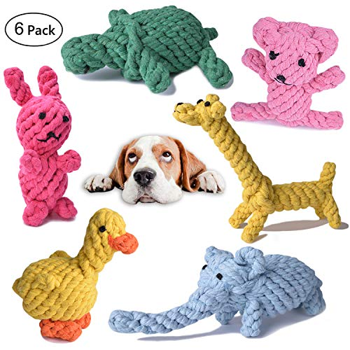 Dog Rope Toys Cute Animals Design, Cotton Puppy Toys for Small Dogs. Rope Dog Toy Set pack of 6