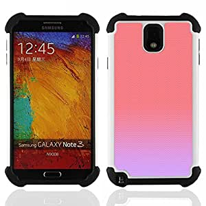 GIFT CHOICE / Defensor Cubierta de protección completa Flexible TPU Silicona + Duro PC Estuche protector Cáscara Funda Caso / Combo Case for Samsung Galaxy Note 3 III N9000 N9002 N9005 // purple peach pink pastel colors cute //