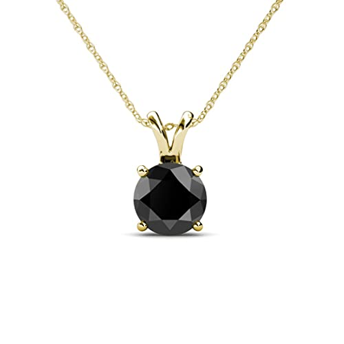 TriJewels Round Black Diamond Solitaire Pendant 4.00 ct in 14K Gold with 18 Inches Silver Chain