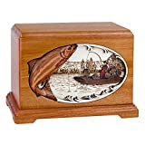 Wood Cremation Urn - Mahogany Salmon Boat Fishing Hampton