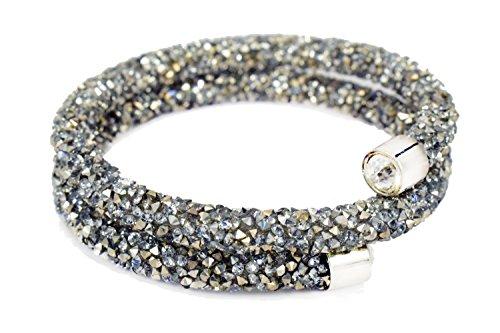 Bracelet Swarovski Wrap Around (QIDISI A Crystaldust Crystal Bracelet Bangle Mixed Color Packaging 2 wrap (White))