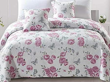 2 taies doreiller couverture de lit Tavira Bleu Blanc matelass/é couvre-lit 3 pi/èces 180x220 double face Couvre-lit r/éversible