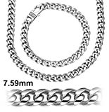 Sterling Silver 7.5 mm Cuban Link Chain or .925 Sterling Silver Bracelet For Men | Platinum Plated Hand Made Miami Cuban Link Chain | Designer Wrist Bracelets | Made In Italy