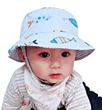 Sumolux Toddler Boy Bucket Hat Fish Pattern Summer Sun Hat with Chin Strap
